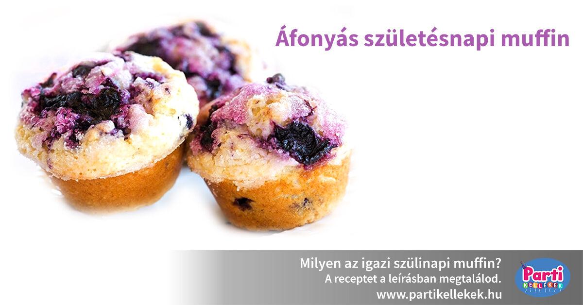 Áfonyás születésnapi muffin recept
