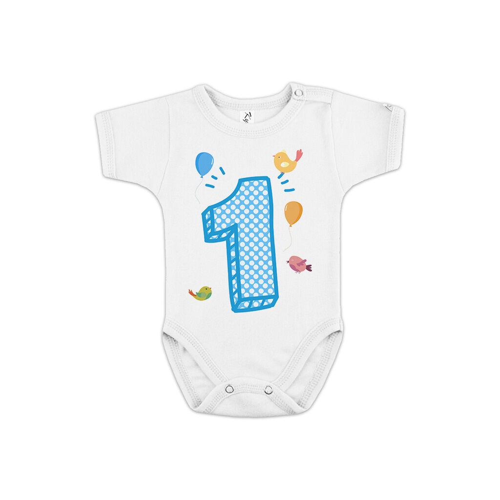 1-es számot ábrázoló feliratos gyerek body fiúknak az első születésnapra. A  kép illusztráció! Nagyításhoz kattints rá! f7fd2ff9fd