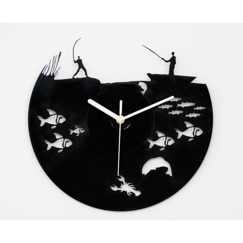 Horgász bakelit falióra - csendes óraszerkezettel A kép illusztráció!  Nagyításhoz kattints rá! fb48c973dd
