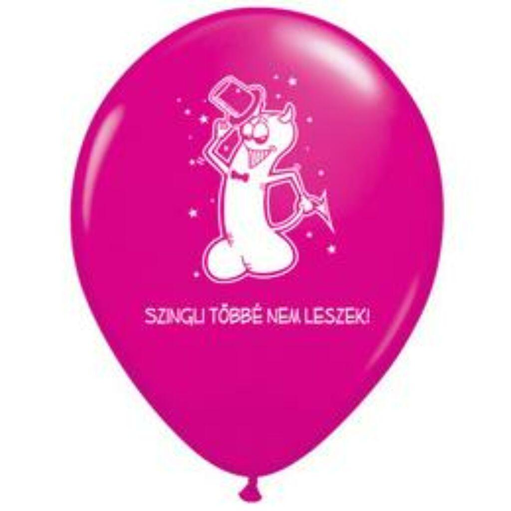 11 inch-es Szingli Többé Nem Leszek Magenta Rózsaszín Lufi Lánybúcsúra A  kép illusztráció! Nagyításhoz kattints rá! 290c5f5a6e