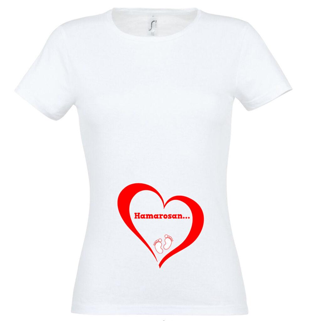 31659a638e Hamarosan... mintás női póló fehér színben A kép illusztráció! Nagyításhoz  kattints rá!