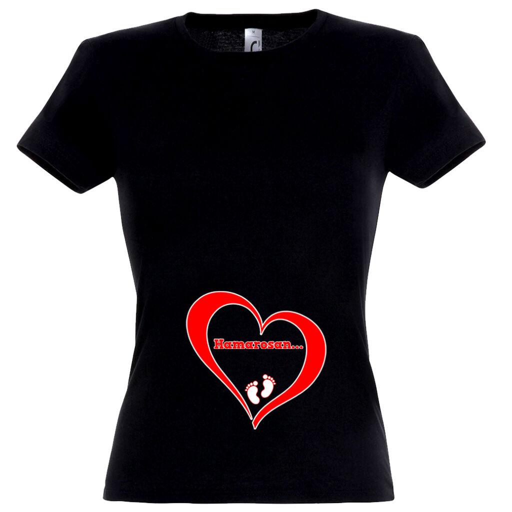 b0c7e45373 Hamarosan... mintás női póló fekete színben A kép illusztráció! Nagyításhoz  kattints rá!