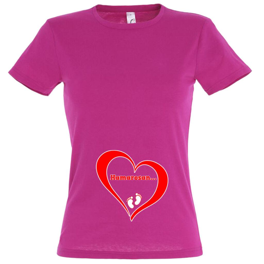 fbcca6275f Hamarosan... mintás női póló fuchsia színben A kép illusztráció!  Nagyításhoz kattints rá!