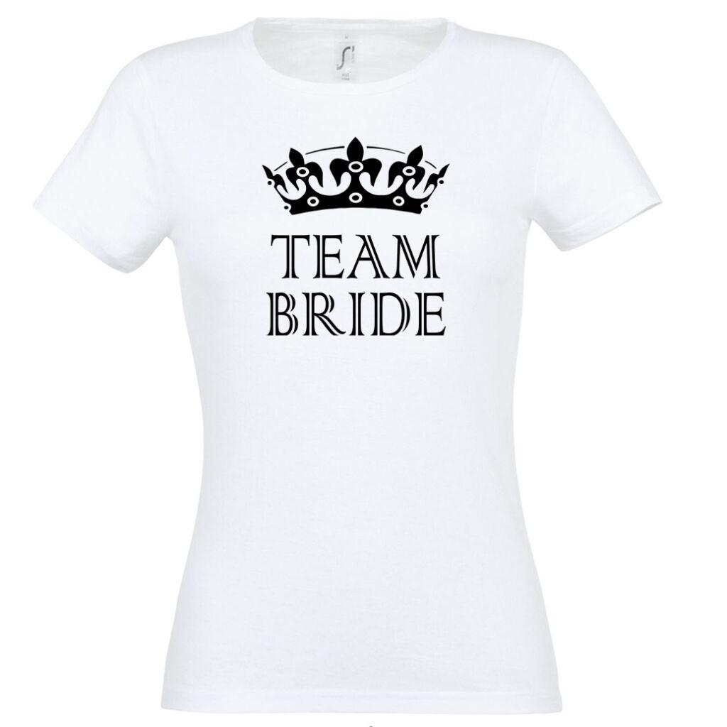 Team Bride póló lánybúcsúra fehér A kép illusztráció! Nagyításhoz kattints  rá! 803e028385