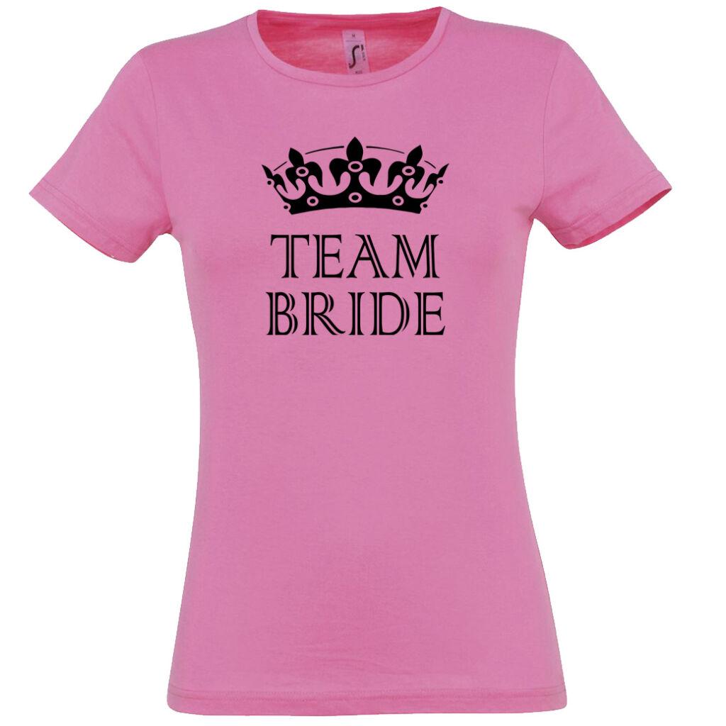 Team Bride póló lánybúcsúra rózsaszín A kép illusztráció! Nagyításhoz  kattints rá! bda261e281