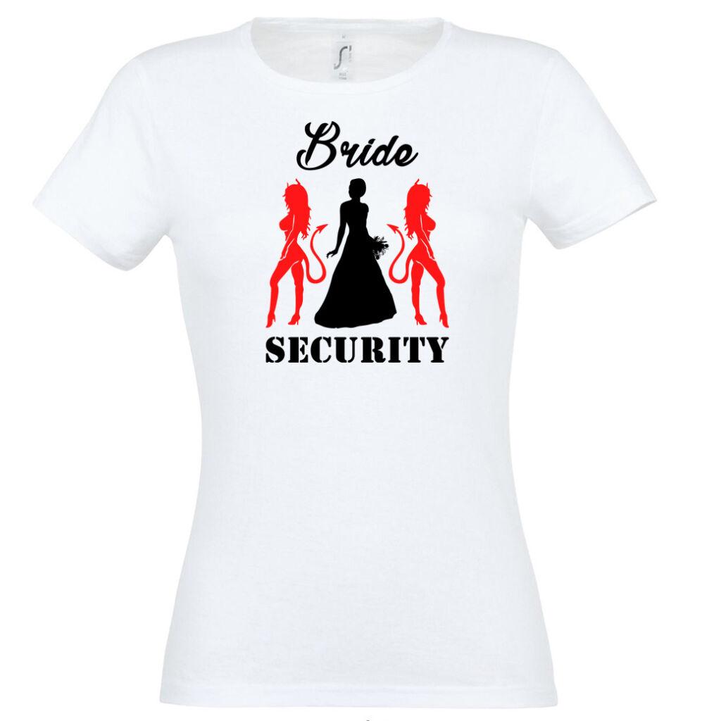 Bride Security ördögös póló lánybúcsúra fehér színben A kép illusztráció! Nagyításhoz  kattints rá! 51491cc608