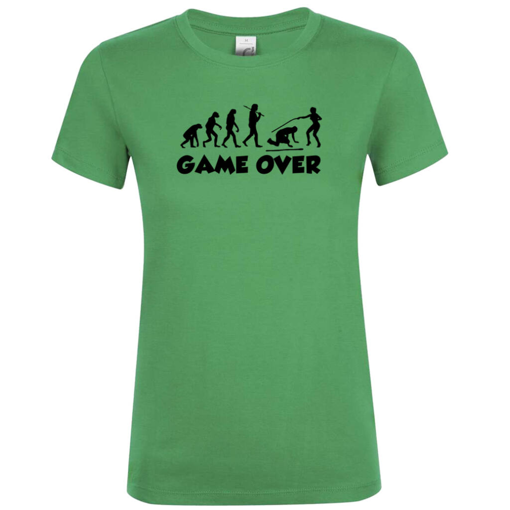 fd58bb3993 Game Over Evolúció III. lánybúcsú póló kelly green A kép illusztráció!  Nagyításhoz kattints rá!