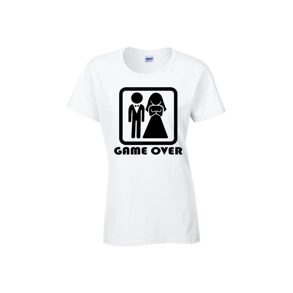 Game Over póló fehér női CSAK L méret A kép illusztráció! Nagyításhoz  kattints rá! abd7f91b47