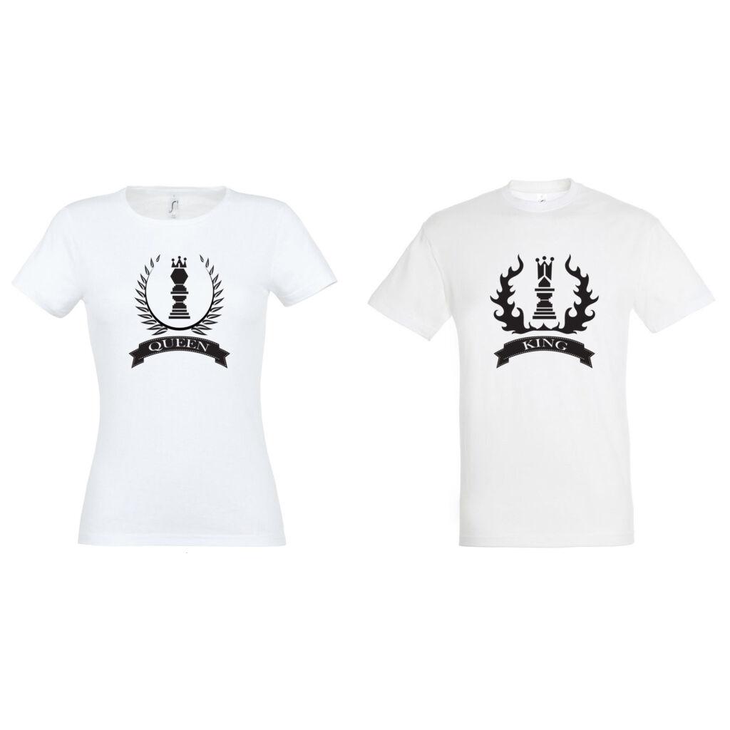 Queen és King sakkos feliratos páros póló mind két fele d7d72d2c51
