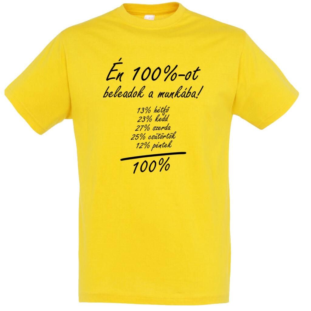 e0b95c44b7 Én 100%-ot beleadok a munkába feliratos, vicces póló. 13% hétfő A kép  illusztráció! Nagyításhoz kattints rá!