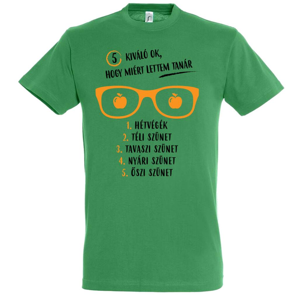 5 ok amiért tanár lettem póló kelly green férfi A kép illusztráció!  Nagyításhoz kattints rá! 9a371af40e