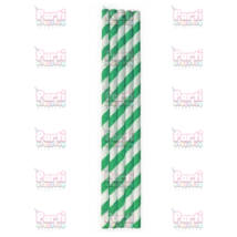 Zöld fehér csíkos papír szívószál 20db