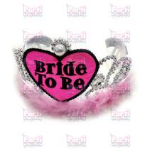 Bride to be tollas, gyöngyös tiara rózsaszín