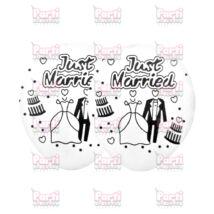 Just Married feliratos, fehér színű, esküvői pár és torta mintás lufi lánybúcsúra vagy esküvőre.  Mérete: kb 30cm Anyaga: latex.  A csomag 5db léggömböt tartalmaz