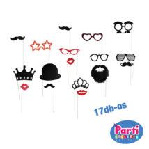 Party fotó kiegészítő bajusz, száj, szemüveg, kalap 17db-os