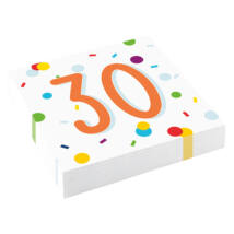 30-as Konfetti Mintás Parti Szalvéta - 33 cm x 33 cm, 16 db-os