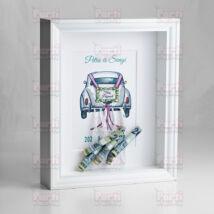 Pénzátadó nászajándék képkeret - Fehér autós
