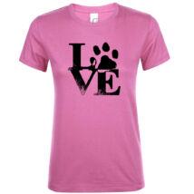 Love tappancsos kutyás női póló rózsaszín 4afe1a443c