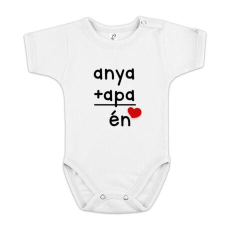 Anya + Apa = Én feliratos gyerek body. A szeretettel és mosollyal teli gyerekeknek! Több méretben, rövid és hosszú ujjú, fehér színben. 100% pamut
