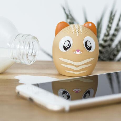 Állati erős mini hangszóró, kihangosító és szelfi távirányító egyben Cica