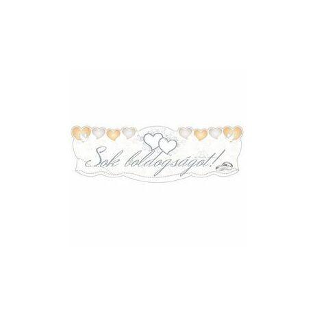 Sok Boldogságot Szívek és Galambok Ezüst Esküvői Banner - 90 cm x 30 cm