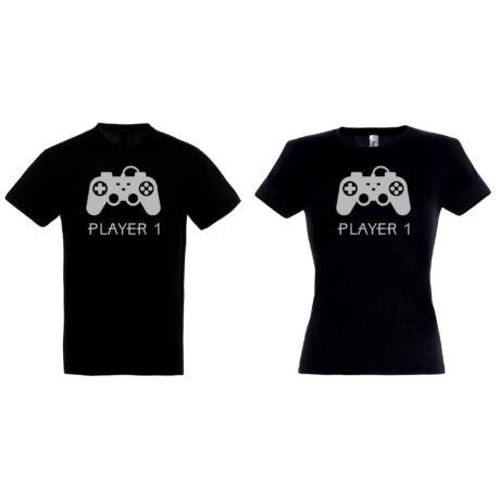 Player 1 - Player 2 páros pólók fekete színben
