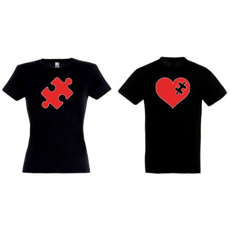 Szív-Puzzle páros pólók fekete