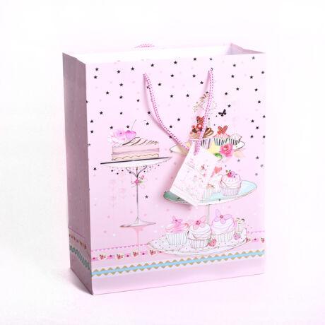 Rózsaszín süteményes ajándéktasak 23*18cm