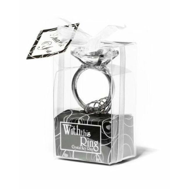 Gyémántgyűrű kulcstartó - átlátszó