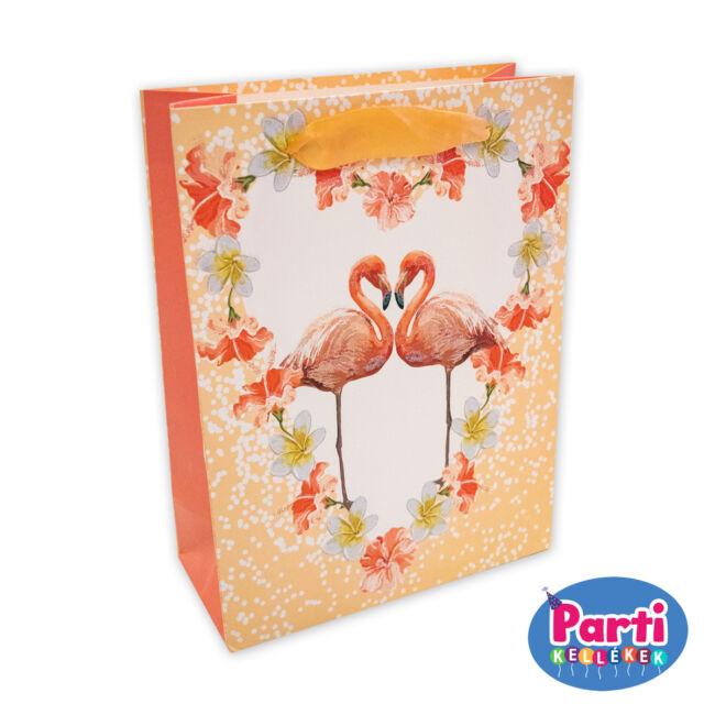 Flamingó ajándéktasak 18x23x10cm barack