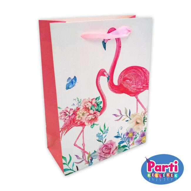 Flamingó ajándéktasak 18x23x10cm fehér
