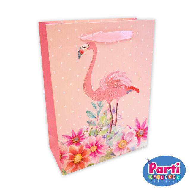 Flamingó ajándéktasak 18x23x10cm rózsaszín