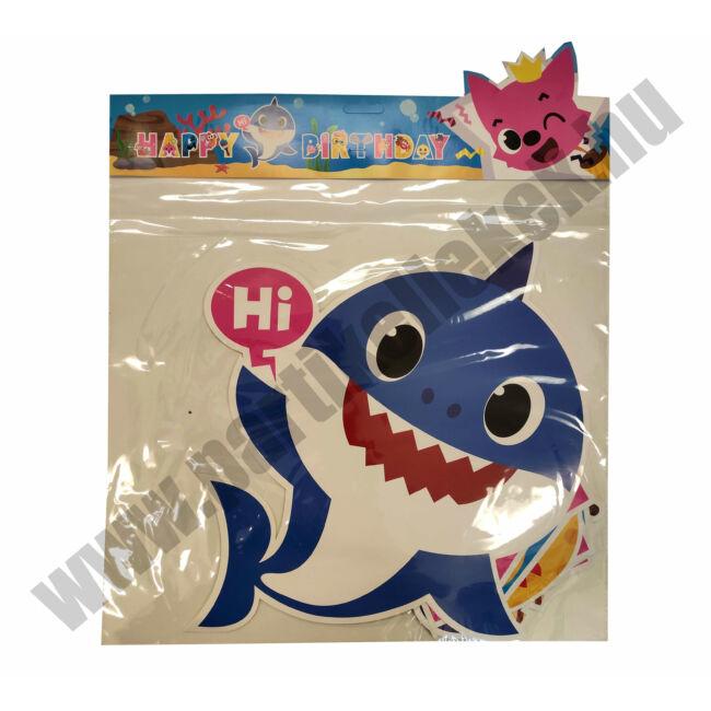 Baby Shark Happy Birthday banner - kék DIY