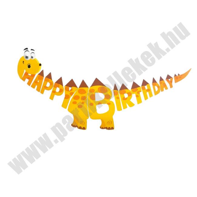 Dínós Happy Birthday banner - sárga DIY
