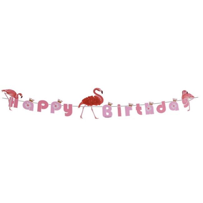 Happy Birthday banner, flamingós DIY
