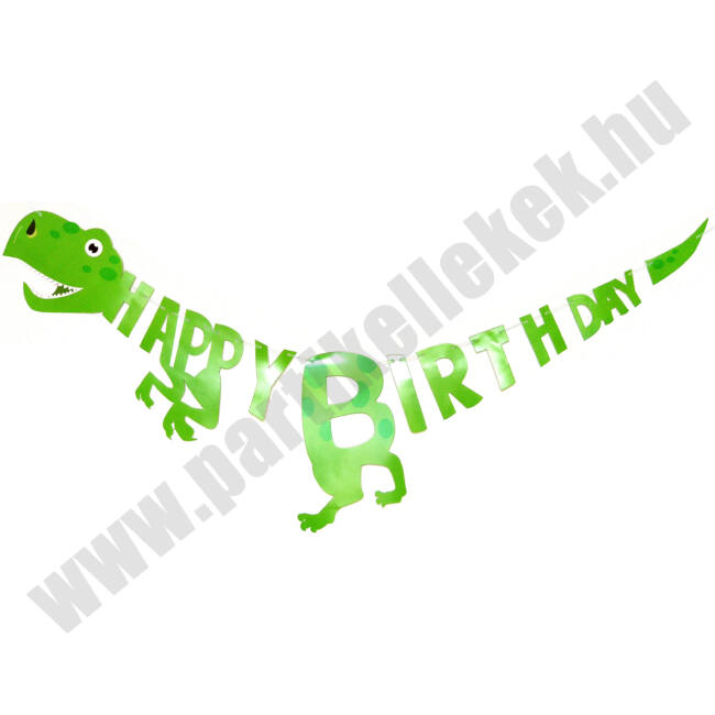 Dínós, T-Rex Happy Birthday banner DIY - zöld