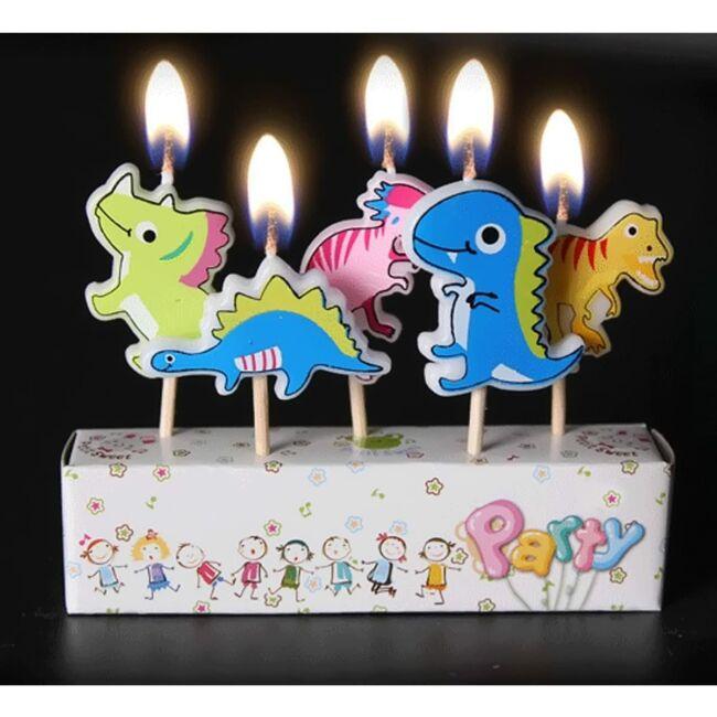 Dínós születésnapi gyertyakészlet, 5db-os