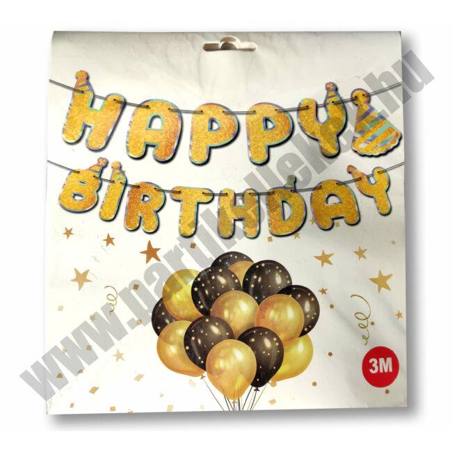 Happy Birthday banner, csillogós, arany