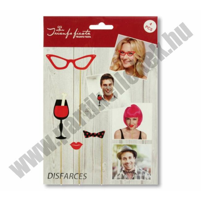 Party fotó kiegészítő szemüveg, pohár, csókos száj, nyakkendő, 4db-os