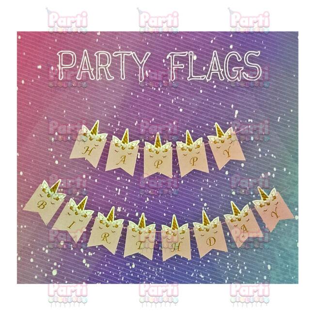 Unikornis Happy Birthday rózsaszín feliratos függő dekoráció