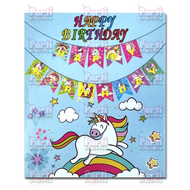 Unikornis Happy Birthday színes feliratos függő dekoráció