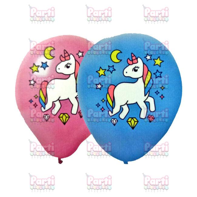 Fehér és kék színes lufi unikornis mintával lánybúcsúra, csajos bulikba, kerti partikra vagy születésnapokra.