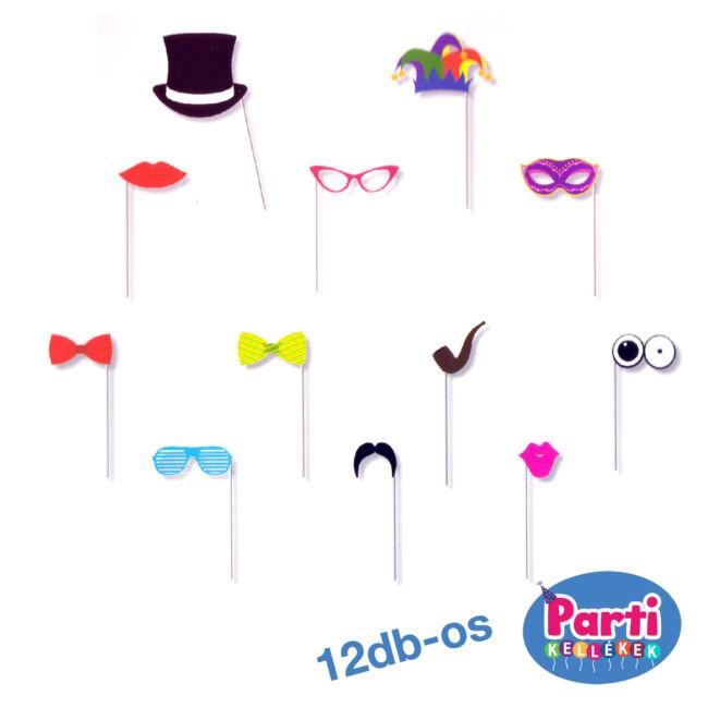 Party fotó kiegészítő bajusz, száj, szemüveg, kalap 12db-os
