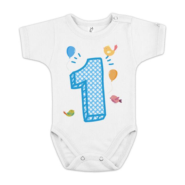 1-es számot ábrázoló feliratos gyerek body fiúknak az első születésnapra.