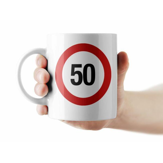 Sebességkorlátozó 50. születésnapi bögre