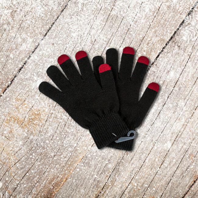 Kötött kesztyű érintőkijelzős telefonokhoz Fekete-piros