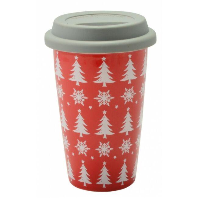 Kerámia karácsonyi utazóbögre Piros