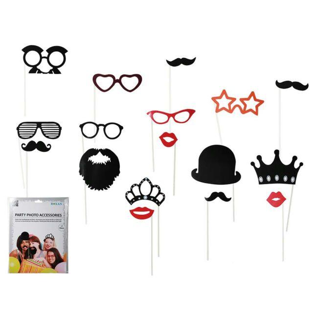 Pálcikás kiegészítő fényképekhez - bajusz, szemüveg, szakáll, száj, kalap