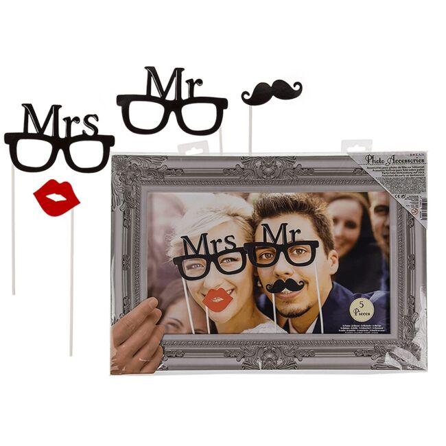 Mr és Mrs pálcikás party fotó kiegészítő kép kerettel