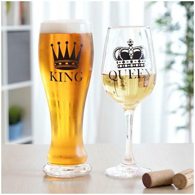 King and Queen boros és sörös pohár szett